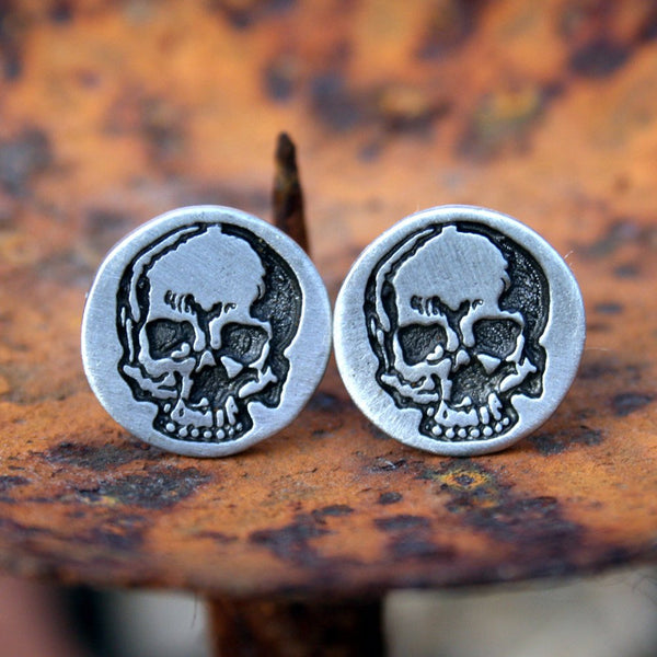Cufflinks, Soldered - Pewter Skulls