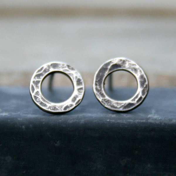 Sterling Silver Post Earrings - Hammered Hoops Studs