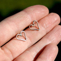 Sterling Silver Heart Post Earrings - Wire Hearts