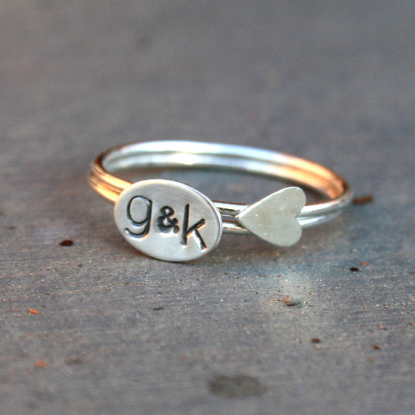 Personalized Jewelry - Custom Initials Sterling Silver Stack Rings with Sideways Heart