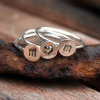 Personalized Jewelry - Custom Initials Sterling Silver Stacking Ring