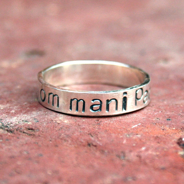 Personalized Jewelry - Personalized Sterling Silver Message Ring - Om Mani Padme Hum