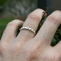 Flat Back Beaded Sterling Silver Ring