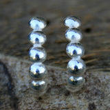 Sterling Silver Post Earrings - Beaded Half Hoops