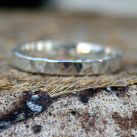 Sterling Silver Ring - Simple Hammered and Antiqued Band