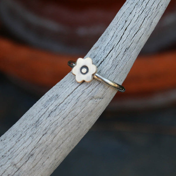 Sterling Silver Ring - Brass Flower Mixed Metal