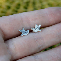 Sterling Silver Post Earrings - Facing Birds