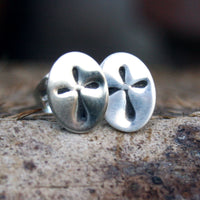 Sterling Silver Post Earrings - Cross on Oval Studs