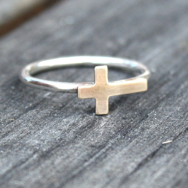 Sterling Silver Stacking Ring with Brass Sideways Cross