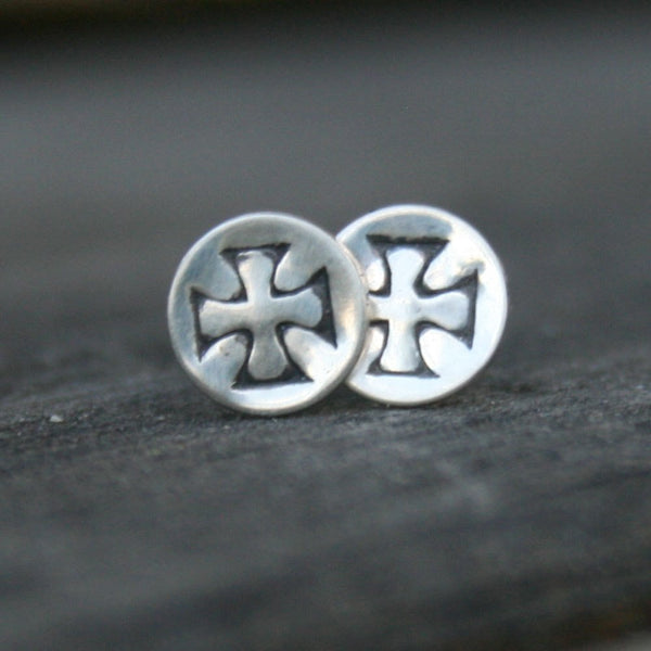 Sterling Silver Round Post Earrings - Iron Cross Studs