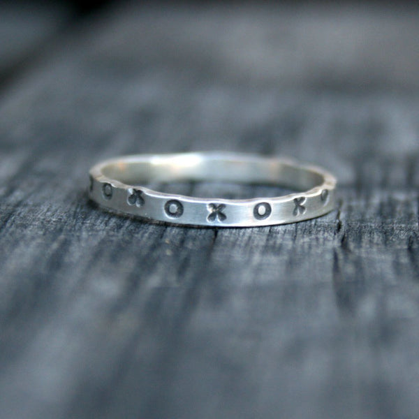 Sterling Silver XOXO Ring - Hugs and Kisses Band