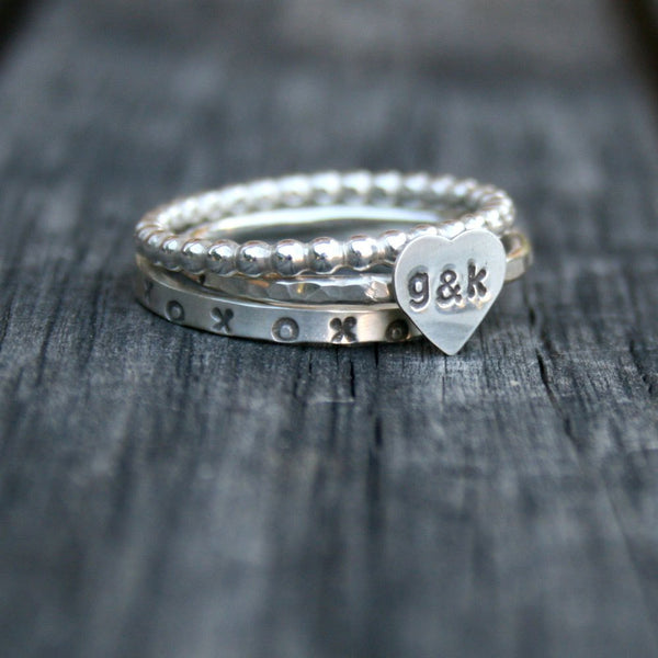 Personalized Jewelry - Sterling Silver Stacking Heart Ring Set - Custom Initials Sweetheart Stack Rings