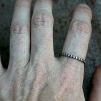 Simple Beaded Antiqued Sterling Silver Ring