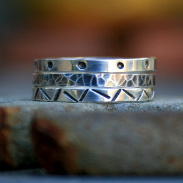 Sterling Silver Stack Ring Set - Hand Stamped Designs