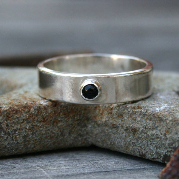 Personalized Sterling Silver Stone Ring -  Custom Band with Onyx or Turquoise Stone