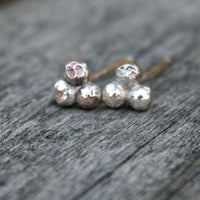 Sterling Silver Post Earrings - Three Rustic Domes
