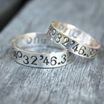 Latitude and Longitude Ring Set - Personalized Sterling Silver Ring Set -  Custom Coordinates GPS - Couples Ring Set - Wedding Ring Set