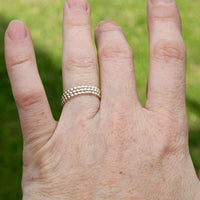 Sterling Silver Stacking Ring Set - Beaded Ring Set
