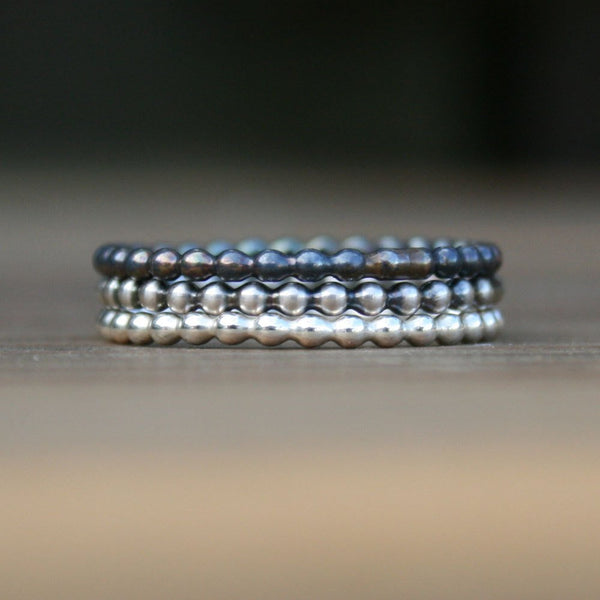 Beaded Sterling Silver Stacking Ring Set - Gradient Antiqued