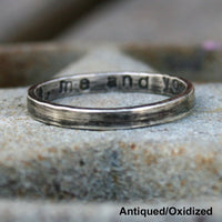 Personalized Sterling Silver Ring - Thin Custom Band