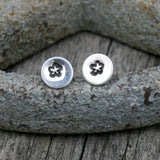 Sterling Silver Tiny Round Post Earrings - Flower