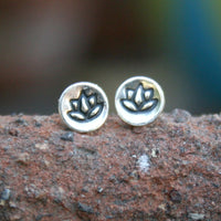 Sterling Silver Tiny Round Post Earrings - Lotus