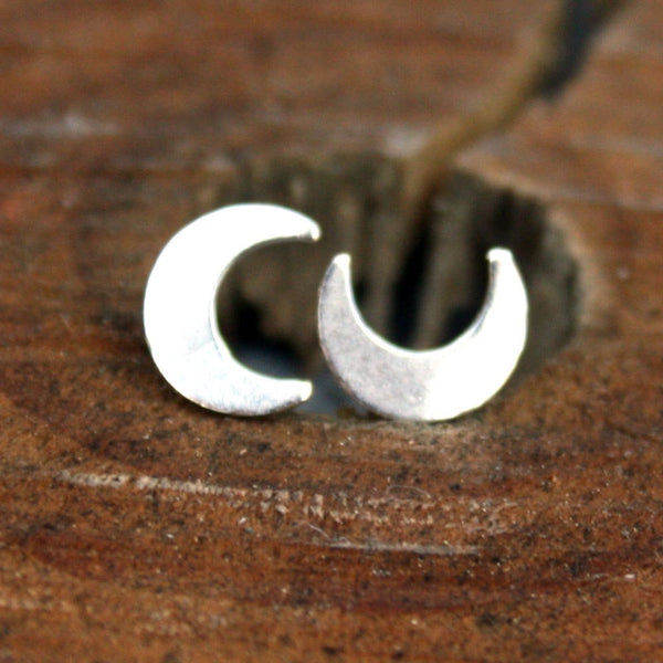 Sterling Silver Post Earrings - Crescent Moon