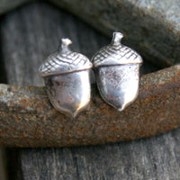 Sterling Silver Post Earrings - Acorns