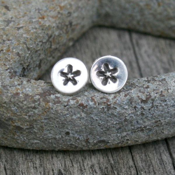 Sterling Silver Tiny Round Post Earrings - Star