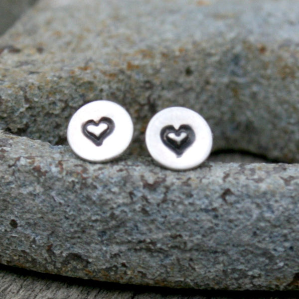 Sterling Silver Tiny Round Post Earrings - Heart