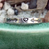 Thin Sterling Silver Band - Tribal Arrows and Heart