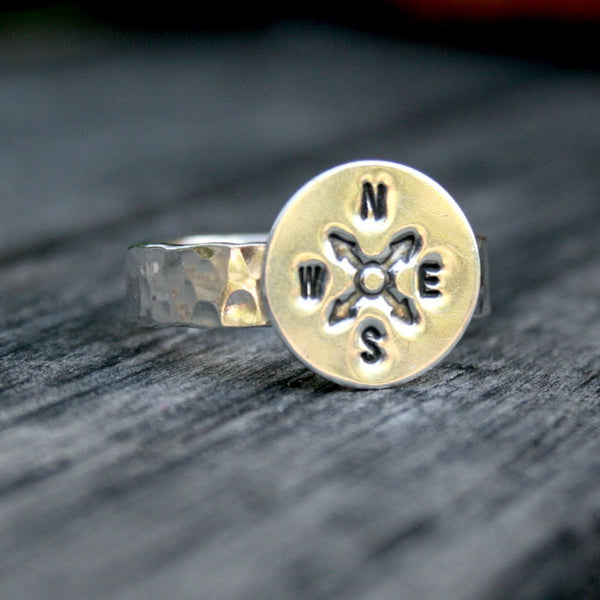 Sterling Silver Ring - Compass Wanderlust Band