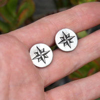 Cufflinks, Soldered Pewter - Compass Rose
