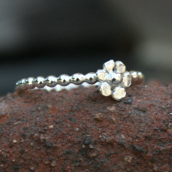 Sterling Silver Beaded Stacking Flower Ring