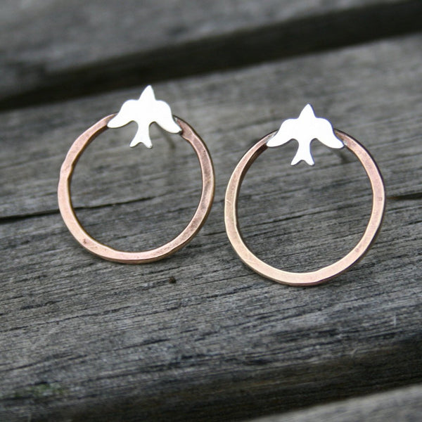 Mixed Metal Hoop Earrings - Birds - Brass and Silver