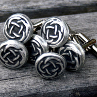 Cufflinks - Celtic Knot, Rustic Hand Cast Soldered Pewter