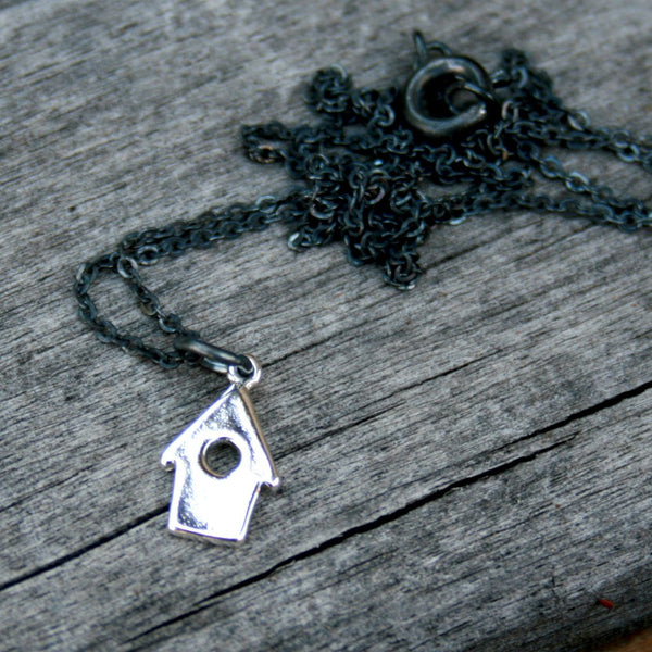 Sterling Silver Plated Necklace - Birdhouse