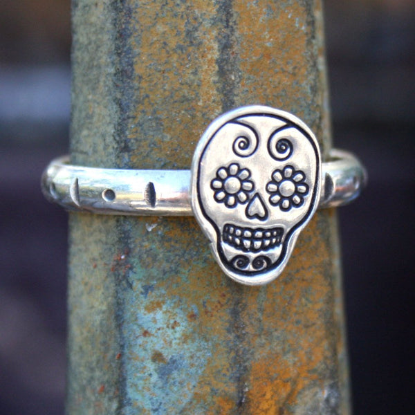 Sterling Silver Ring - Sugar Skull, Día de los Muertos, Day of the Dead