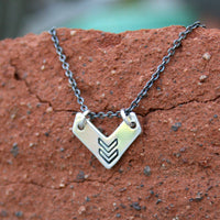 Sterling Silver and Silver Plated Necklace - Chevron