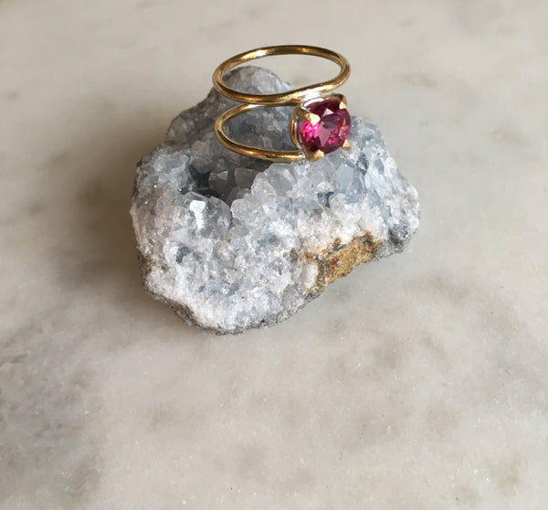 Pink Topaz Double Ring