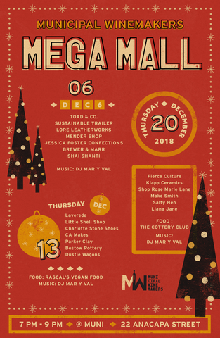 Muni Mega Mall Holiday Market at Municipal Winemakers December 13