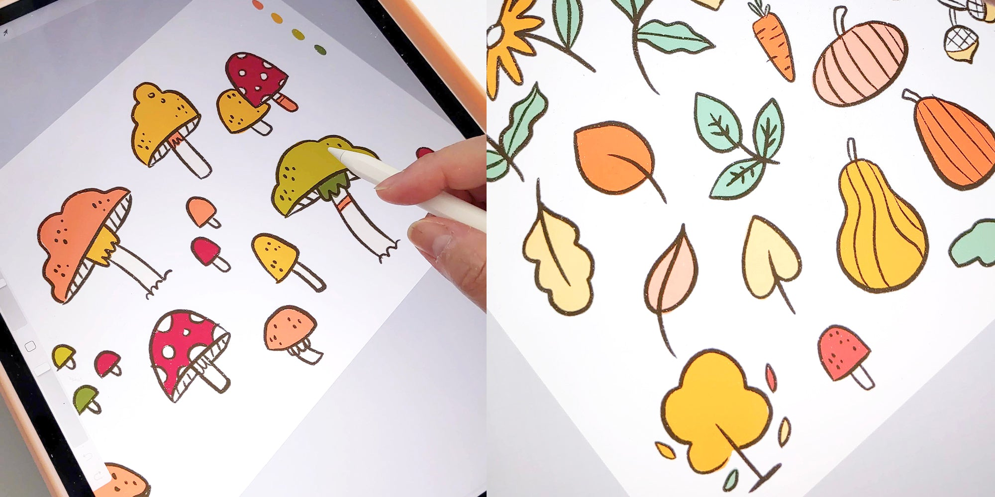 Cheery Human Studios Autumn 2021 Work in Progress shots featuring illustrated mushrooms, gourds, leaves, and florals