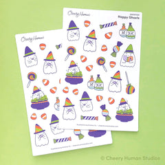 Happy Ghosts sticker sheet by Cheery Human Studios featuring wizard ghosts and halloween candy illustrations