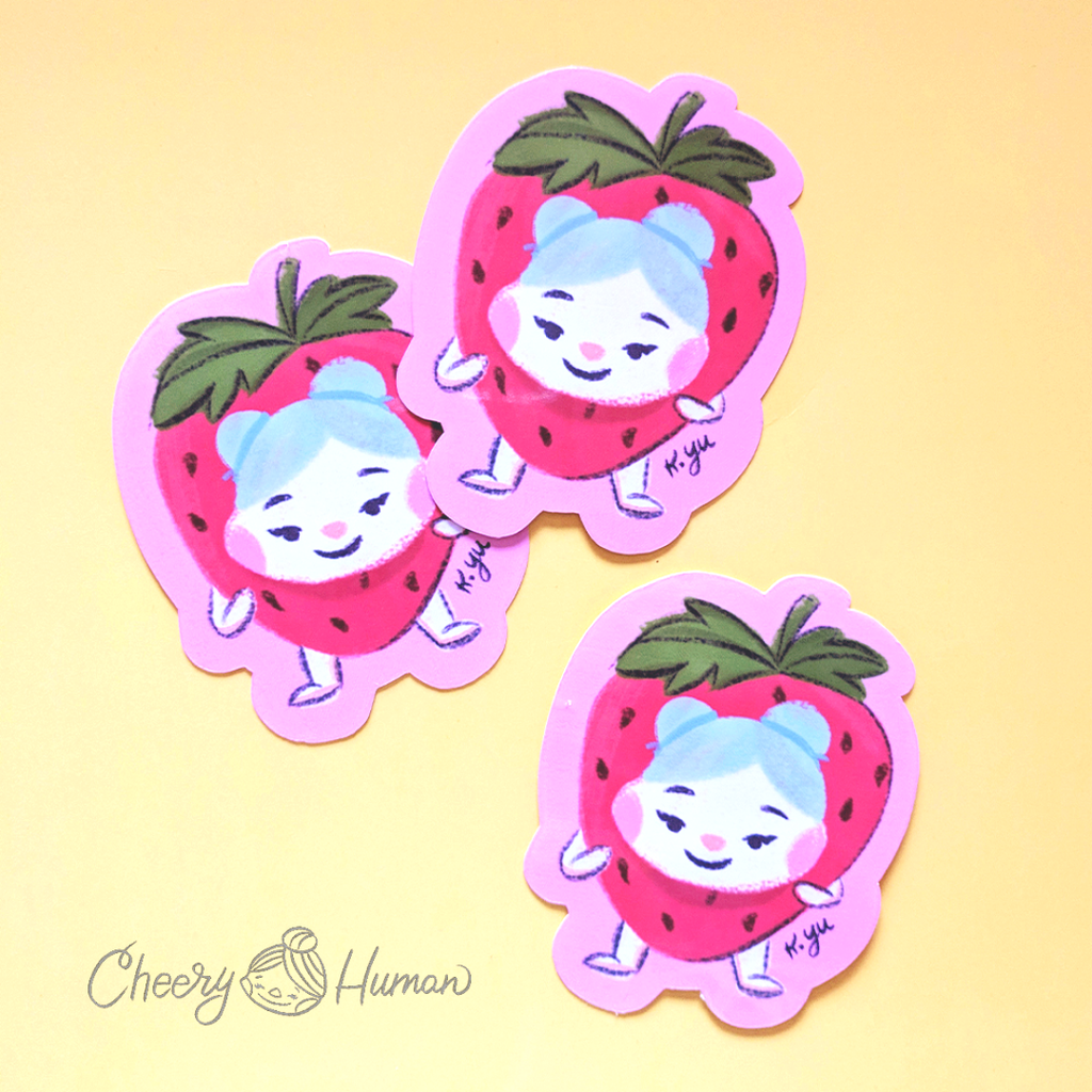 Cheery Strawberry - Handmade Vinyl Sticker