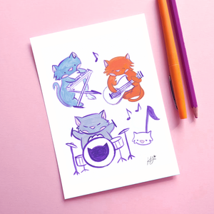 Cat Band - 5x7 Art Print