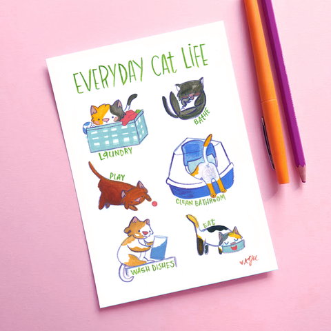 Everyday Cat Life - 5x7 Art Print