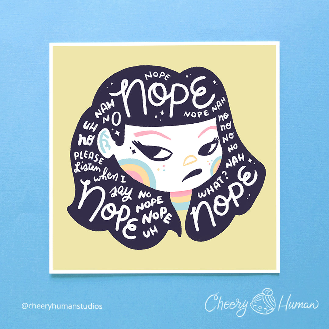 Hair Emotions: Nope - 6x6 Art Print