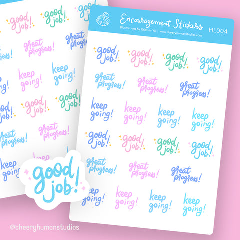 Encouragement Stickers - Stickers | Single Sticker Sheet or Pack of 5