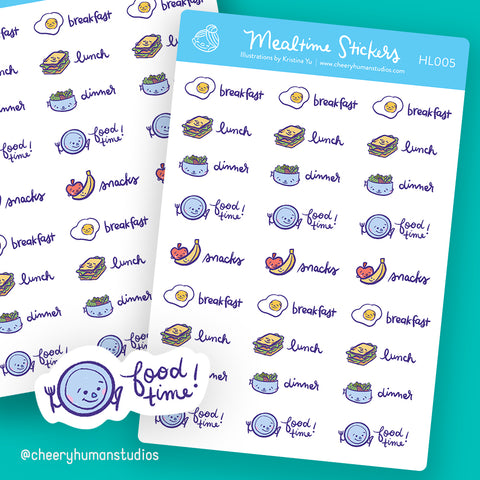 Meal Time Stickers - Stickers | Single Sticker Sheet or Pack of 5