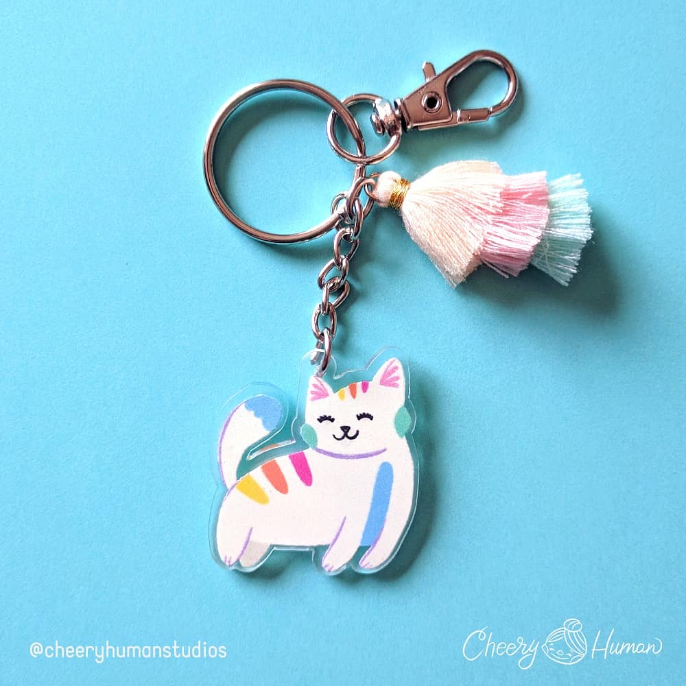 Rainbow Kitty - Clear Acrylic Keychain